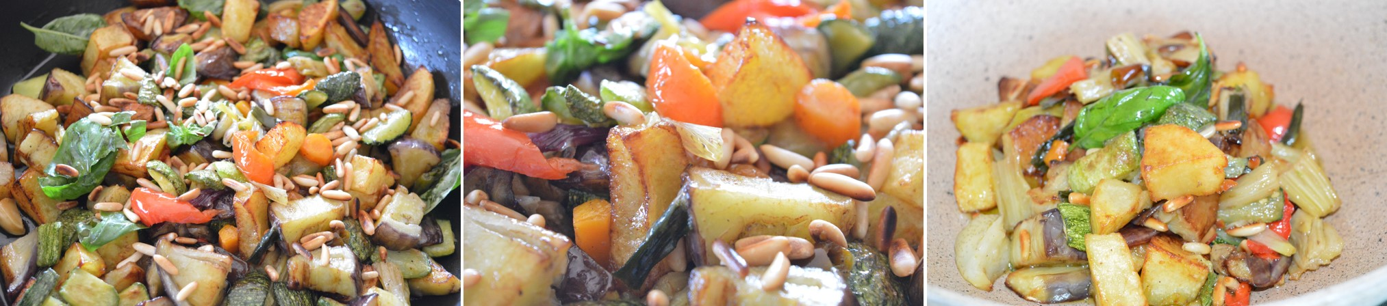 La padellata di verdure con melanzane, zucchine e pinoli