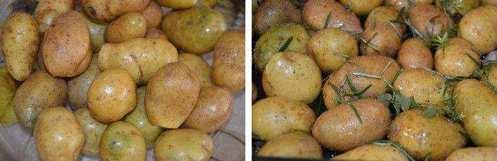 Le patate novelle sbucciate, con rosmarino
